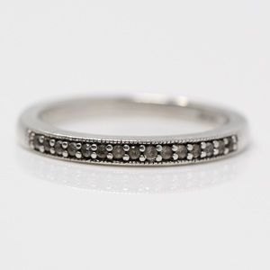 STAMPED JH Sterling Silver White Topaz Stack Ring